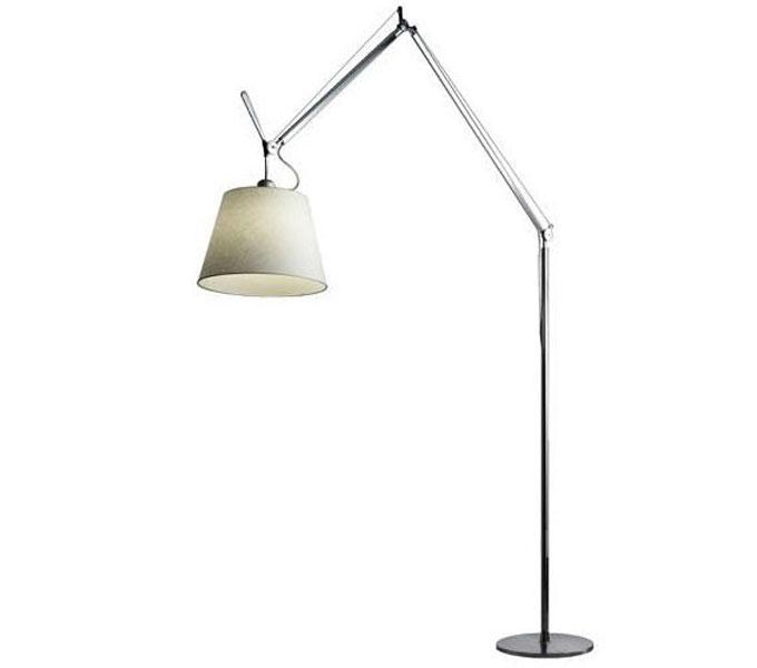 Artemide Tolomeo Mega Terra LED aluminium vloerlamp met snoerdimmer-Perkament-Kap ø 32 cm