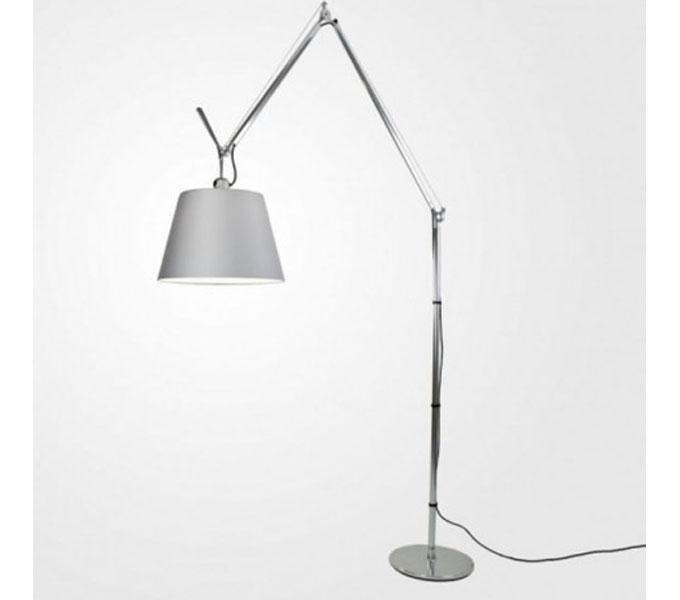 Artemide Tolomeo Mega Terra LED aluminium vloerlamp met snoerdimmer-Satijn grijs-Kap ø 32 cm