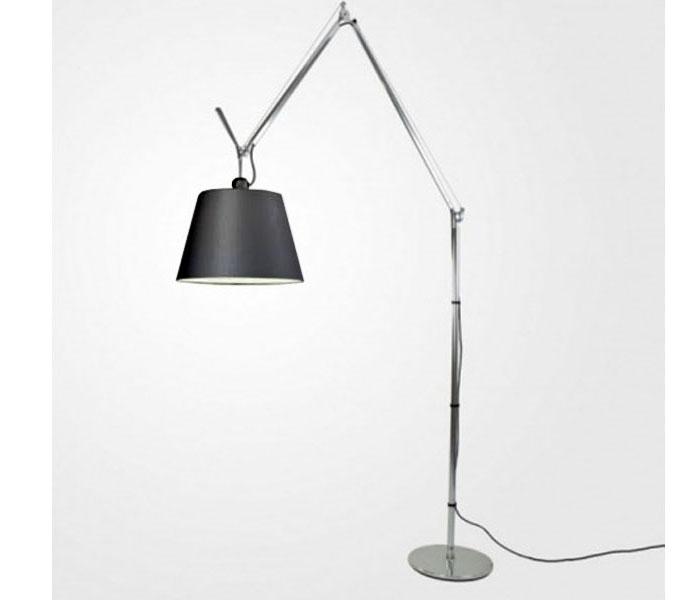 Artemide Tolomeo Mega Terra LED aluminium vloerlamp met snoerdimmer-zwart-Kap ø 32 cm
