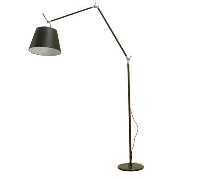 Artemide Tolomeo Mega Terra LED zwart vloerlamp met snoerdimmer-Kap ø 32 cm