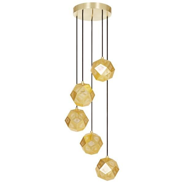 Tom Dixon Etch Mini Chandelier hanglamp-Messing