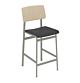 muuto Loft counterstoel gestoffeerd dusty green onderstel-Zwart leer