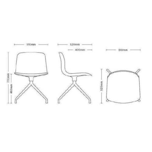 HAY About a Chair AAC10 zwart onderstel stoel-Oranje