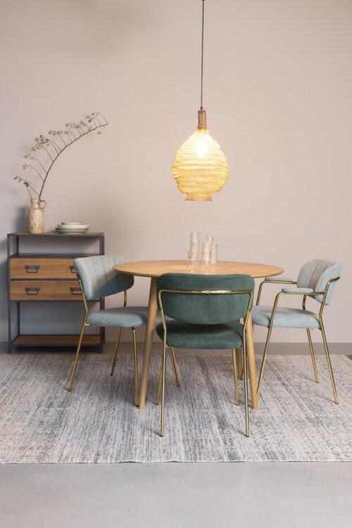 vanHarte Jolien eetkamerstoel zonder arm goud onderstel-Light green