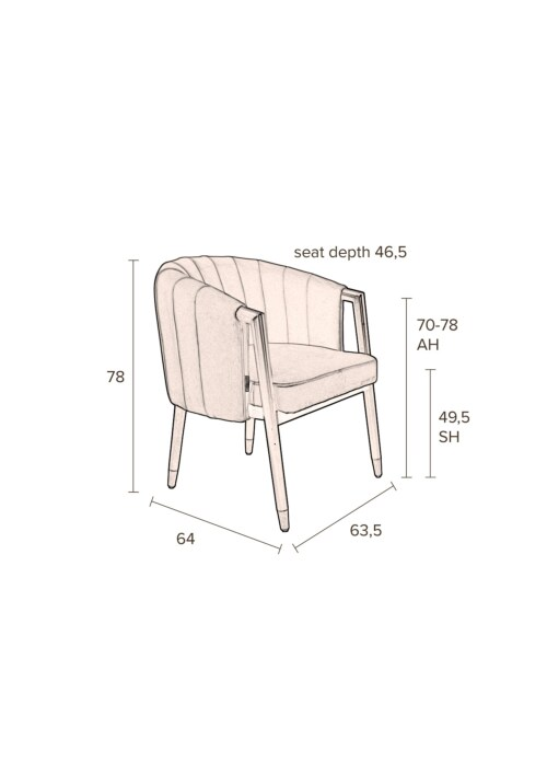 Dutchbone Tammy stoel -Texas Tartan