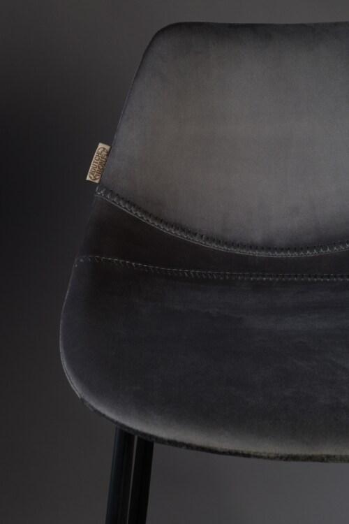 Dutchbone Franky Velvet barkruk-Donker grijs-Zithoogte 65 cm