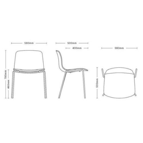 HAY About a Chair AAC16 zwart onderstel stoel-Antraciet