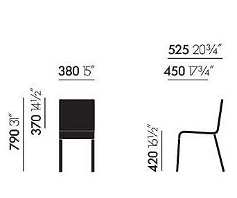 Vitra .03 stoel met poedercoating onderstel zwart niet stapelbaar-Mint