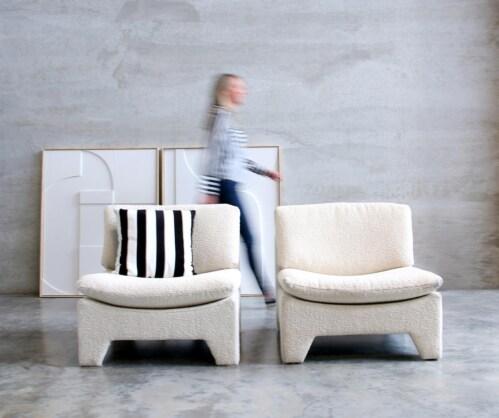 HK Living Retro Lounge fauteuil-Boucle cream