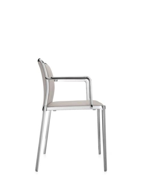Kartell Audrey Soft aluminium stoel-Beige-Met armleuning
