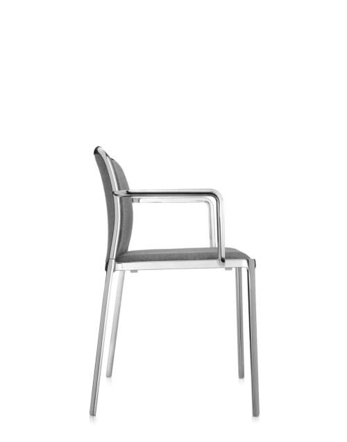 Kartell Audrey Soft aluminium stoel-Grijs-Met armleuning