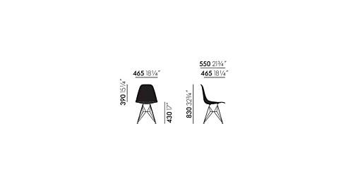 Vitra Eames DSR Fiberglass stoel met verchroomd onderstel-Ochre Light