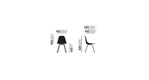 Vitra Eames DSX Fiberglass stoel met zwart onderstel-Ochre Light