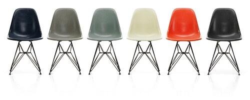 Vitra Eames DSR Fiberglass stoel met verchroomd onderstel-Red Orange