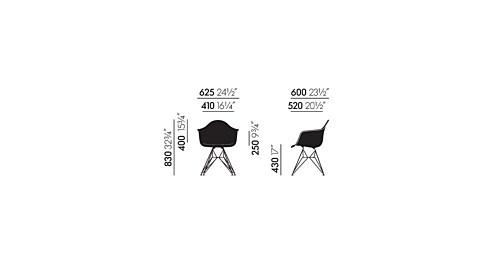 Vitra Eames DAR stoel met verchroomd onderstel-Zwart