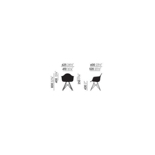 Vitra Eames DAR Fiberglass stoel met wit onderstel-Parchment
