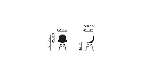 Vitra Eames DSR Fiberglass stoel met zwart onderstel-Elephant Hide Grey
