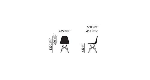 Vitra Eames DSR stoel met verchroomd onderstel-Zwart