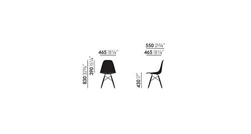 Vitra Eames DSW stoel met donker esdoorn onderstel-Roest oranje