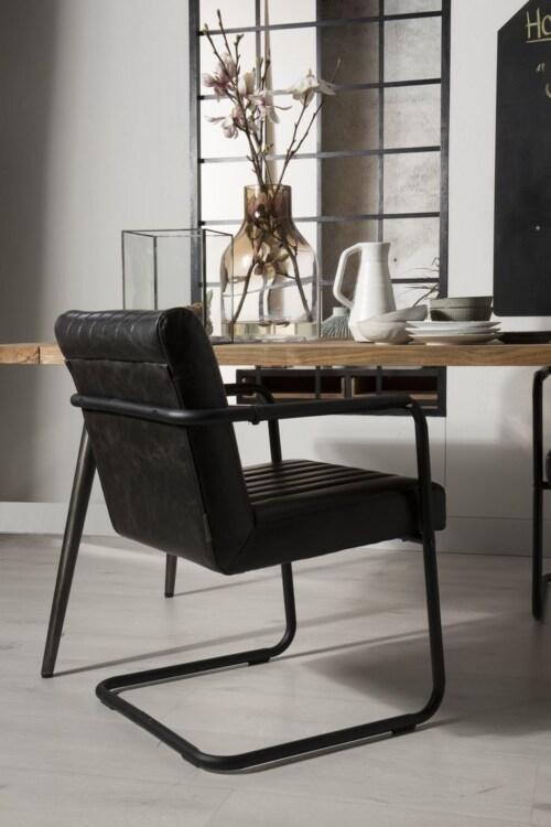 Dutchbone Stitched stoel-Zwart