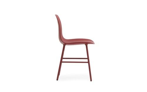 Normann Copenhagen Form stoel met stalen onderstel-Rood