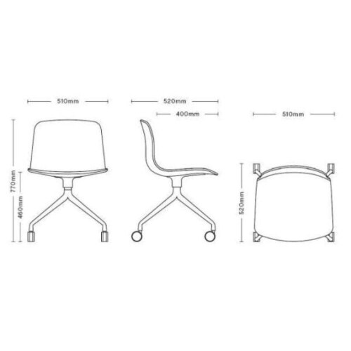 HAY About a Chair AAC14 zwart onderstel stoel-Crème