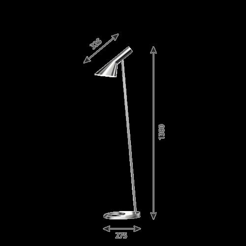 Louis Poulsen AJ vloerlamp-RVS gepolijst