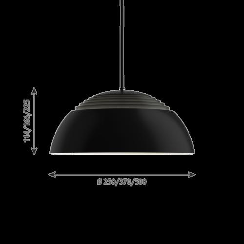 Louis Poulsen AJ Royal zwart LED hanglamp-∅ 37 cm
