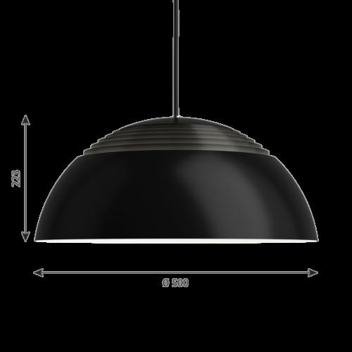 Louis Poulsen AJ Royal zwart LED hanglamp-∅ 50 cm