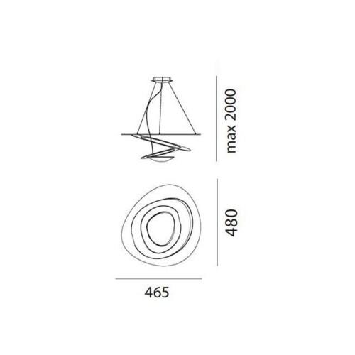 Artemide Pirce Micro LED Sospensione hanglamp-Goud