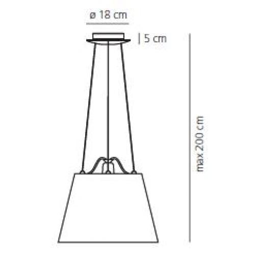 Artemide Tolomeo Mega Sospensione hanglamp-Perkament-Kap ∅ 42 cm