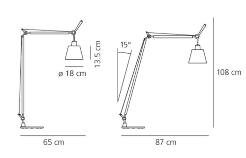 Artemide Tolomeo Basculante Lettura vloerlamp-Satijn grijs
