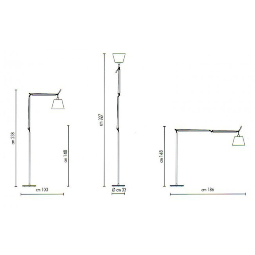 Artemide Tolomeo Mega Terra LED aluminium vloerlamp met snoerdimmer-Perkament-Kap ∅ 42 cm