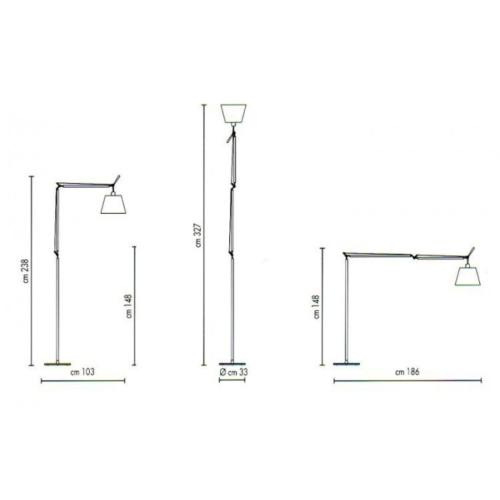 Artemide Tolomeo Mega Terra LED aluminium vloerlamp met snoerdimmer-Satijn grijs-Kap ∅ 42 cm