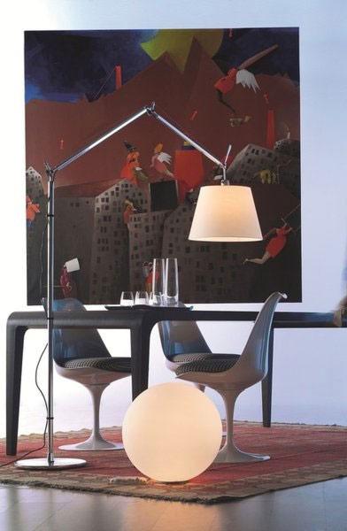 Artemide Tolomeo Mega Terra LED aluminium vloerlamp met snoerdimmer-Perkament-Kap ∅ 32 cm
