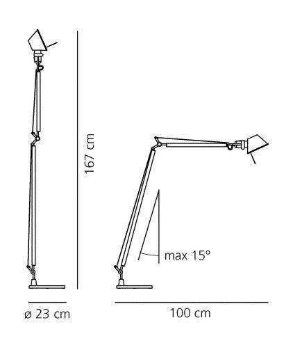 Artemide Tolomeo Lettura vloerlamp-Aluminium