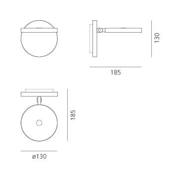 Artemide Demetra Faretto LED wandlamp-antraciet grijs met schakelaar