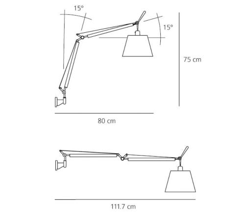 Artemide Tolomeo Basculante Parete wandlamp-Perkament
