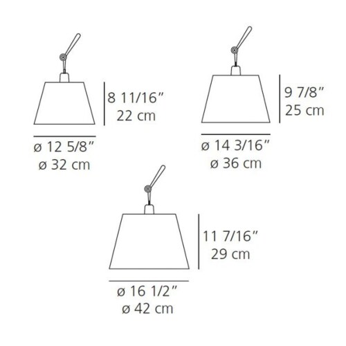 Artemide Tolomeo Mega Terra aluminium dimmer vloerlamp-Perkament-Kap ∅ 42 cm