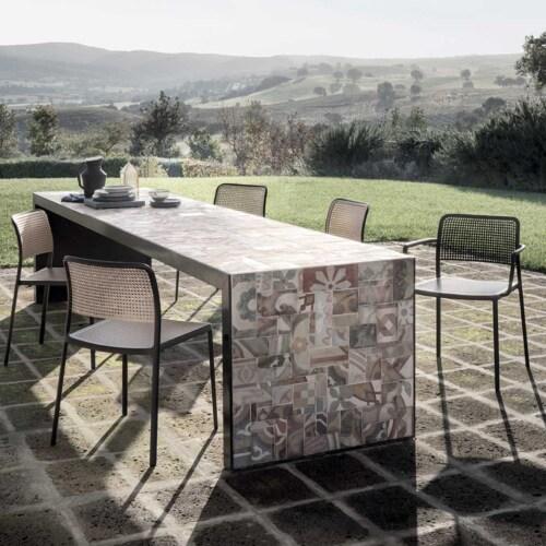 Kartell Audrey Shiny stoel-Aluminium-zand-Met armleuning
