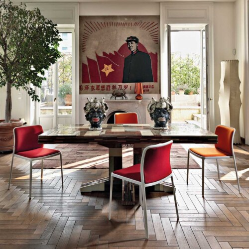 Kartell Audrey Soft wit stoel-Wit-bruin-Zonder armleuning