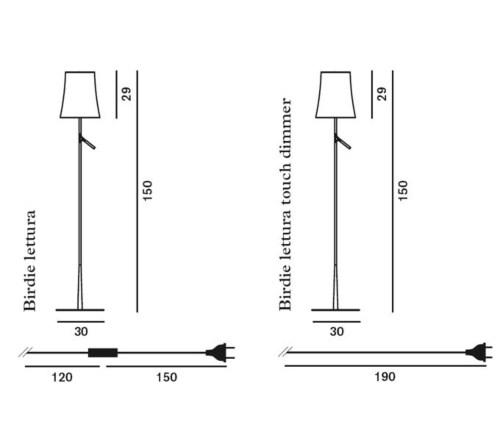 Foscarini Birdie met dimmer vloerlamp-Grijs
