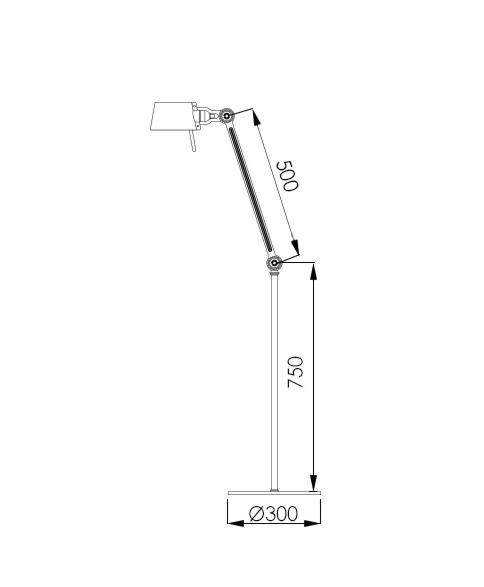 Tonone Bolt 1 arm vloerlamp-Midnight grey