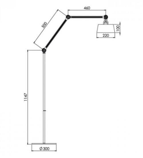 Tonone Bolt Long 2 arm vloerlamp-Daybreak rose