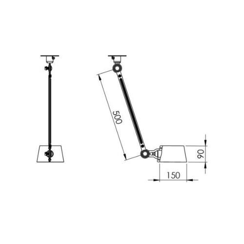 Tonone Bolt 1 Arm Side Fit plafondlamp-Black