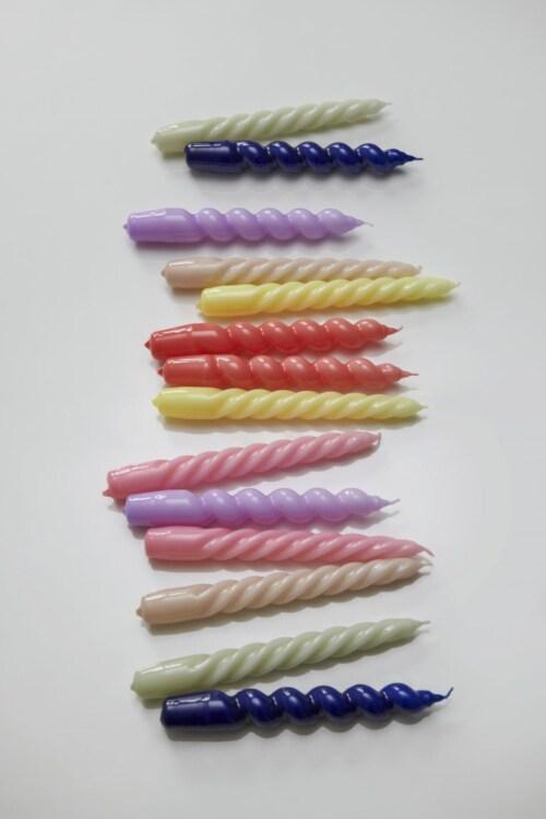 HAY Candle Twist kaarsen set van 6 Ø2.3-Light Rose - Light Grey - Lilac