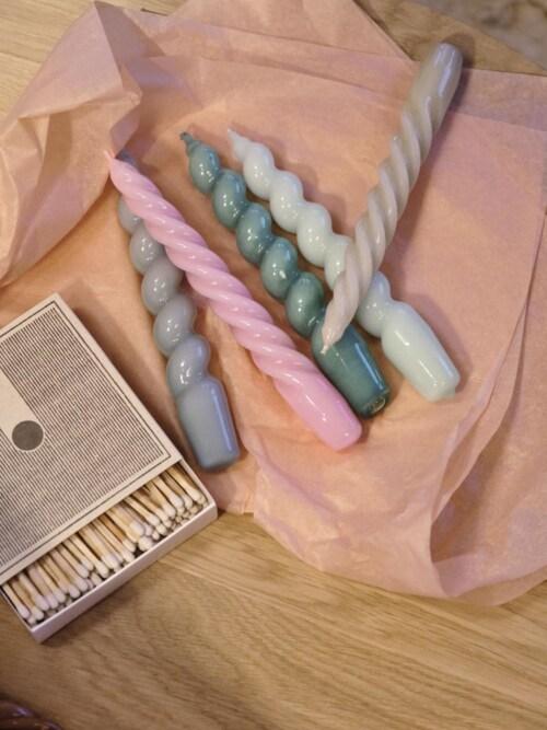 HAY Candle Spiral kaarsen set van 6 Ø2.6-Sky Blue - Dark Pink - Dark Peach
