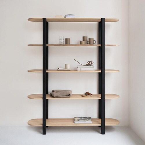 Studio HENK Oblique Cabinet OB-6L zwart frame-155 cm (2 frames)-Hardwax oil light