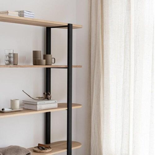 Studio HENK Oblique Cabinet OB-5L zwart frame-155 cm (2 frames)-Hardwax oil light