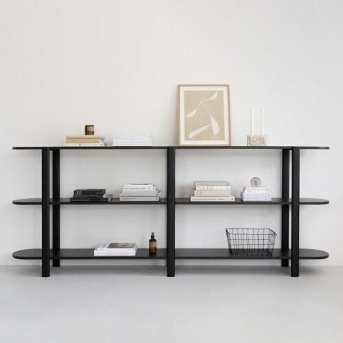 Studio HENK Oblique Cabinet OB-2L wit frame-250 cm (3 frames)-Hardwax oil natural